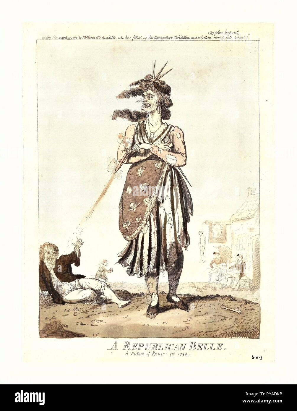 A Republican Belle, a Picture of Paris for 1794, Cruikshank, Isaac, 1756?-1811?, Artist, Engraving 1794, an Old Woman, a Sansculotte, in Ragged Dress, Her Arms Folded Across Her Chest, Holding a Pistol in One Hand, which She Fires at a Man Lying on the Ground, and a Dagger in the Other. There is a Skull and Crossbones Design on Her Garment, She Wears a Miniature Guillotine Hanging from Her Neck, and Claws Are Showing Through Her Shoes. At a Tavern in the Background, Men Are Smoking Pipes and Bowling with Skulls Beneath a Sign Showing the Severed and Bleeding Head of Louis XVI - Stock Image