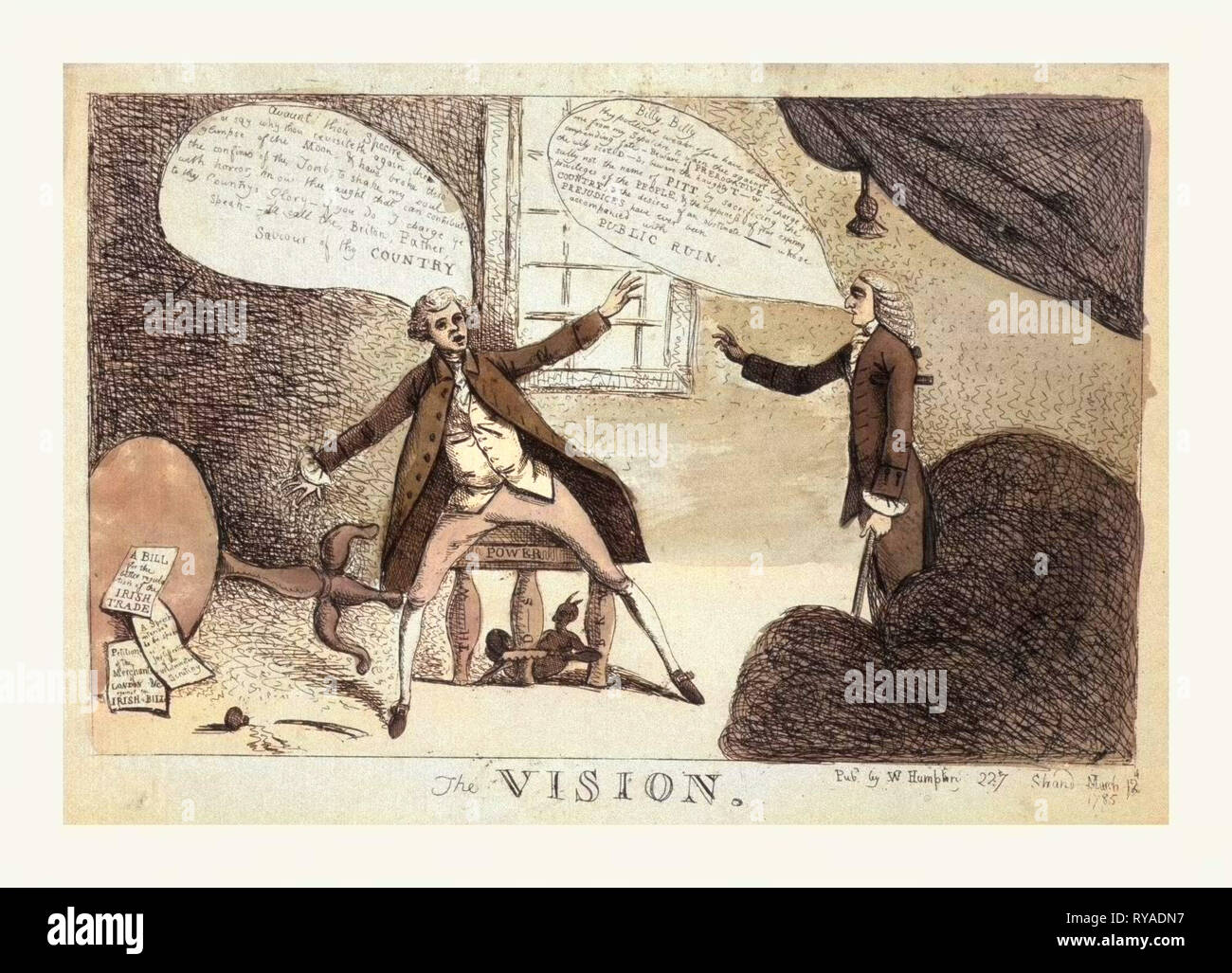 The Vision, Engraving 1785, a Young Man, Possibly William Pitt, the Younger, Being Visited by a Ghost from the Grave, Possibly the Elder William Pitt, Who Has Come to Warn Thee against Thy Impending Fate. Beware of Prerogative, Beware the Wily Scot, D -S, Beware the Haughty T W, Possibly Baron Edward Thurlow, and to Sully Not the Name of Pitt - Stock Image
