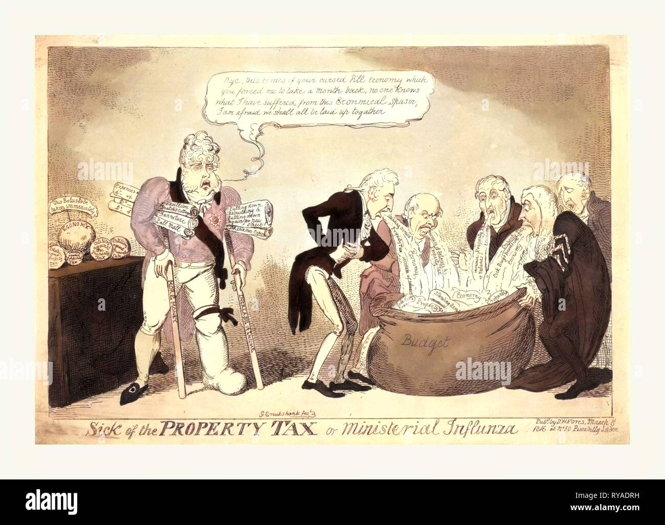 Sick of the Property Tax or Ministerial Influnza, Cruikshank, George, 1792-1878, Artist, Engraving 1816, Ministers, Among Them Vansittart and Castlereagh, Vomiting Taxes Into a Large Bag Labeled Budget. The Prince Regent Stands Nearby, Supported on Crutches Labeled More Money and Increase in Income, Holding Rolled Documents Under His Arms Labeled with Descriptions of Some of His Extravagant Expenses - Stock Image