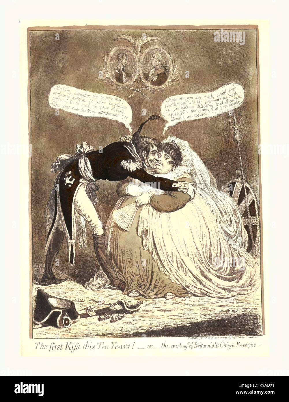 The First Kiss This Ten Years! - or - the Meeting of Britannia & Citizen Francois, Gillray, James, 1756 1815, Engraver, [London]: H. Humphrey, 1803., 1 Print : Etching, Hand-Colored., a Tall, Thin, French Officer Kissing a Fat, Richly Dressed, Seated Britannia. His Hat and Sword Lay on the Carpet. Britannia's Shield and Trident Rest on the Wall behind Her Chair. Above Them Are Portraits of George III and Napoleon, Facing Each Other - Stock Image