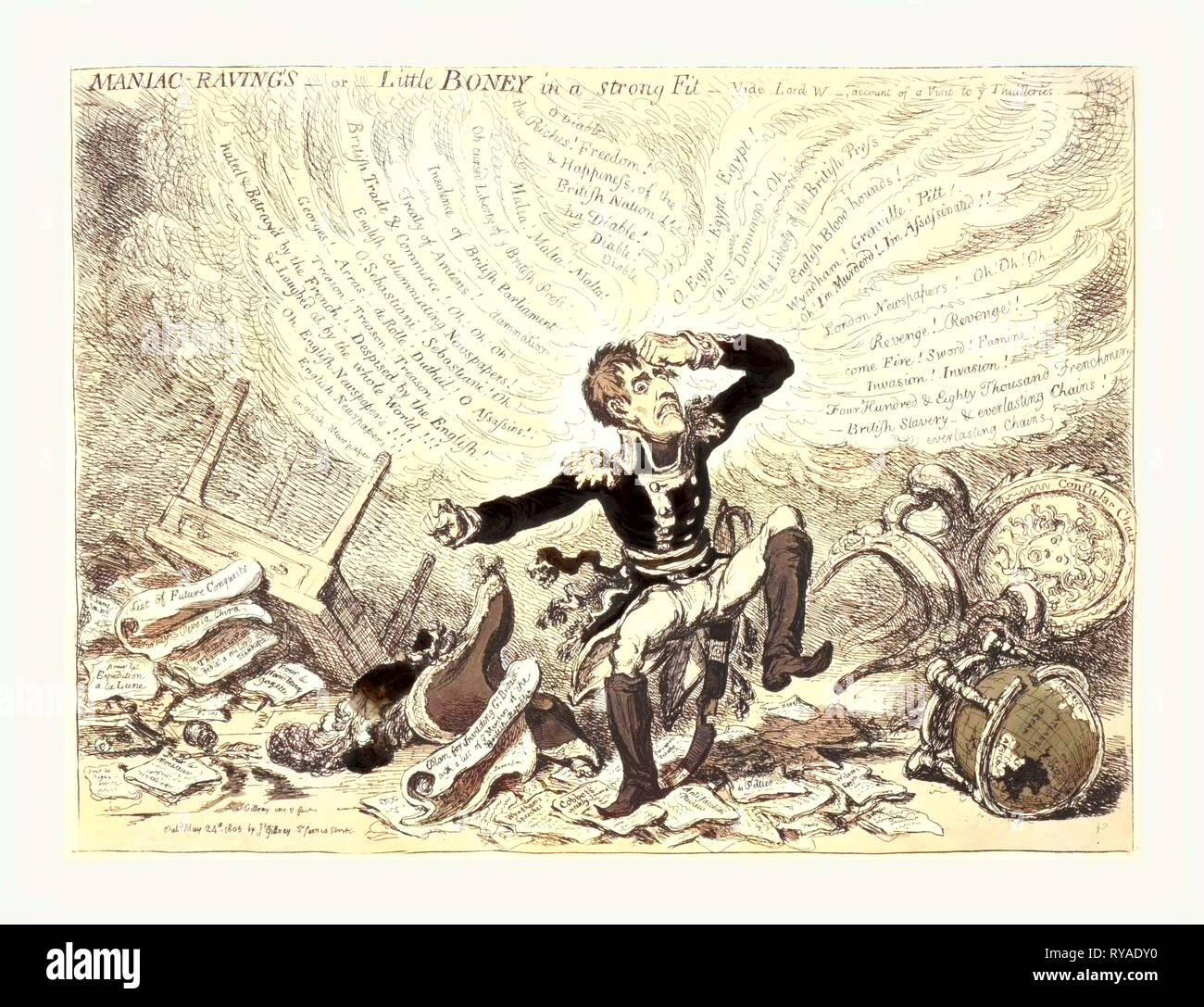 Maniac-Raving's or Little Boney in a Strong Fit, Gillray, James, 1756-1815, Engraver, London, 1803,  Napoleon in a Fury Over Relations Between France and England Stock Photo
