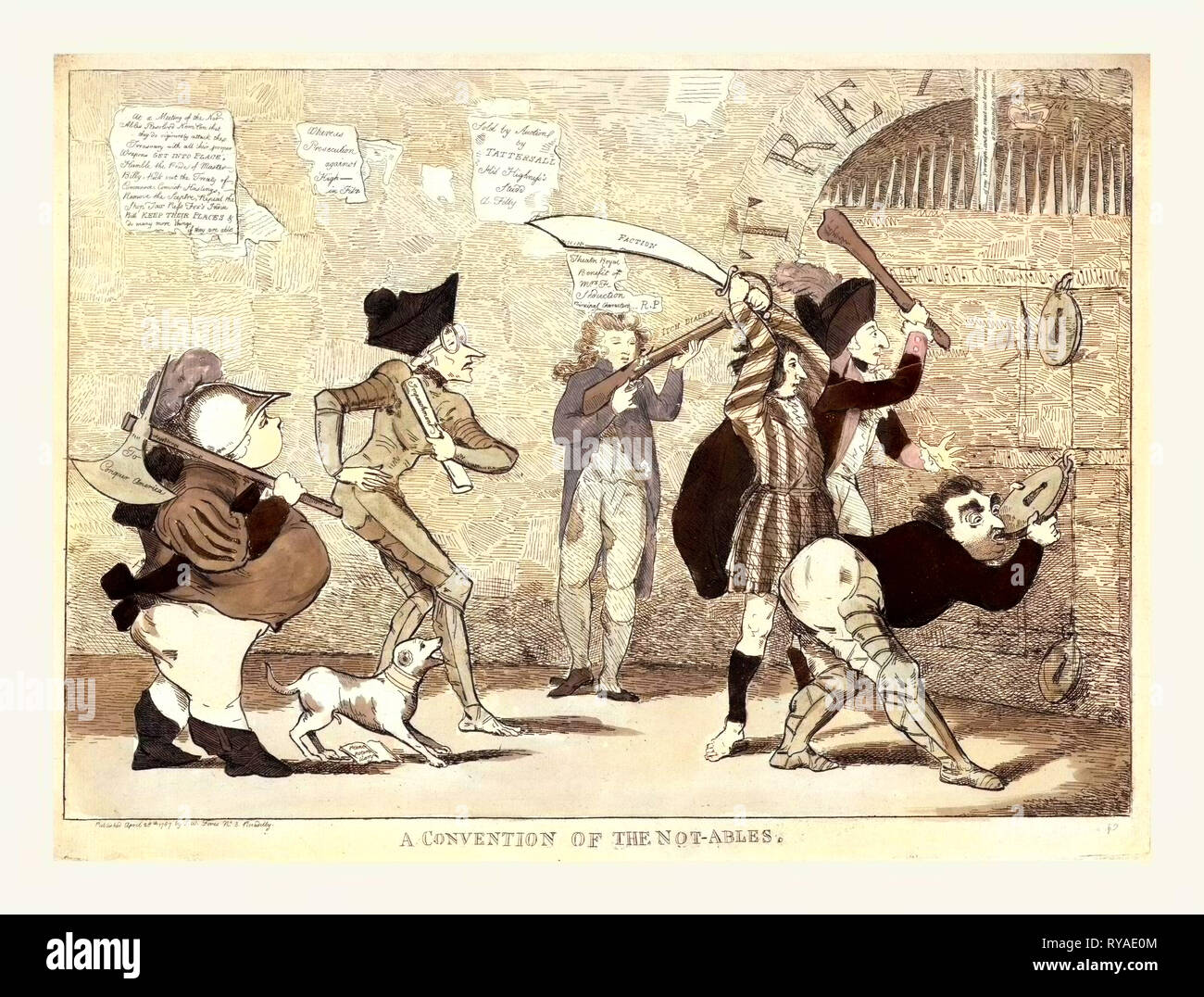 A Convention of the Not-Ables, Engraving 1787, Lord North, Edmund Burke, Charles Fox, the Prince of Wales, and Others Attempting to Break Into the Royal Treasury - Stock Image