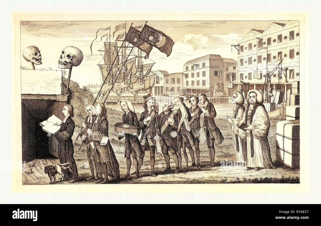 The Repeal or the Funeral of Miss Ame=Stamp, En Sanguine Engraving 1766, a Funeral Procession on the Banks of the Thames, with Warehouses in a Line in the Background, One of which is Inscribed the Sheffield and Birmingham Warehouse Goods Now Ship'D for America. George Grenville Carrys Coffin Inscribed Miss Ame-Stamp B. 1765 Died 1766. On the Quay Are Two Large Bales, One of which is Inscribed, Stamps from America, I.E., Stamps Returned to England As No Longer Needed, Because of the Repeal of the Stamp Act. The Other is Marked, Black Cloth from America, Intended for the Funeral Procession - Stock Image