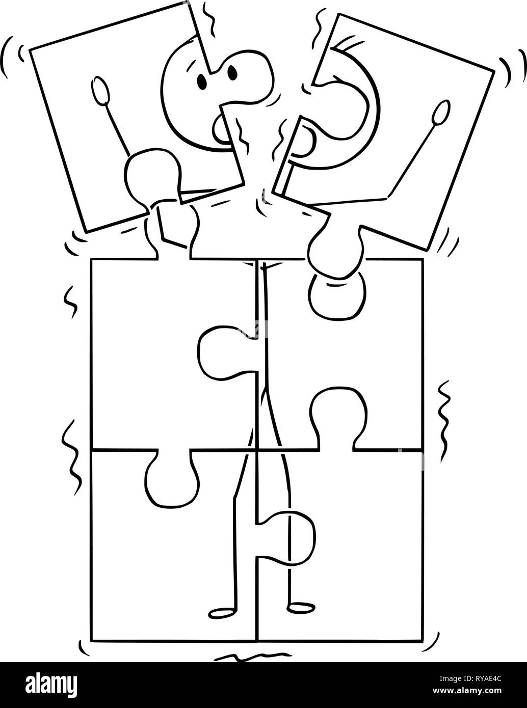 Cartoon of Image of Man Broking Up in Jigsaw Puzzle Pieces Stock Vector