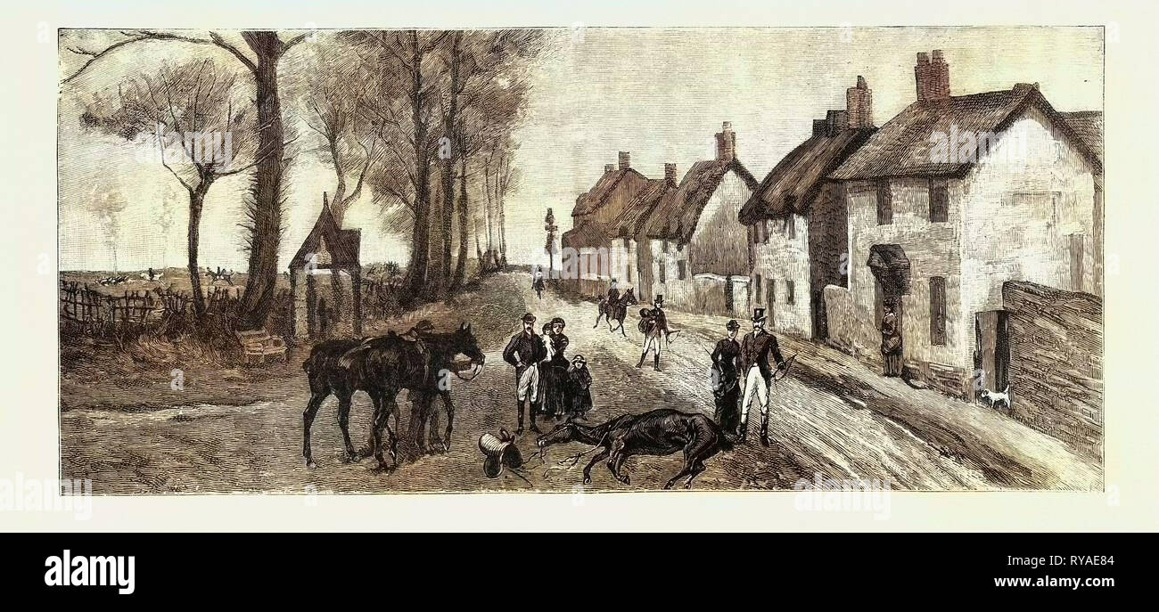 The Sensational Run of the Bicester Hounds, Death of Lady Chesham's Mare in the Village of Chesterton - Stock Image