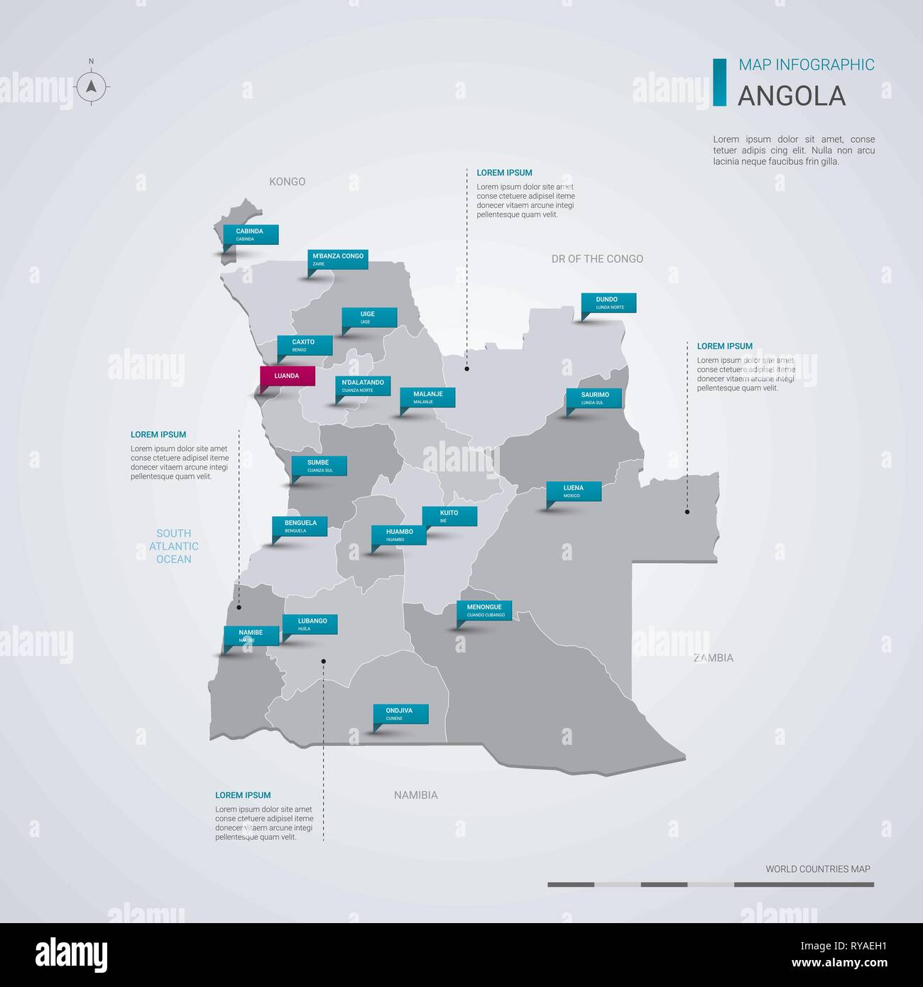 Angola vector map with infographic elements, pointer marks. Editable template with regions, cities and capital Luanda. - Stock Vector