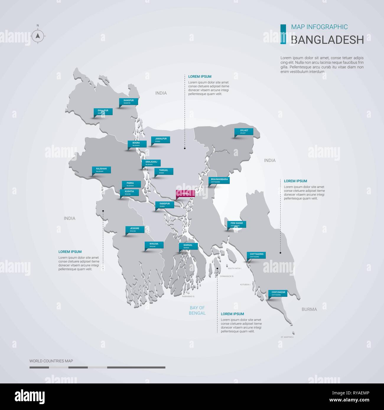desh vector map with infographic elements, pointer marks ... on