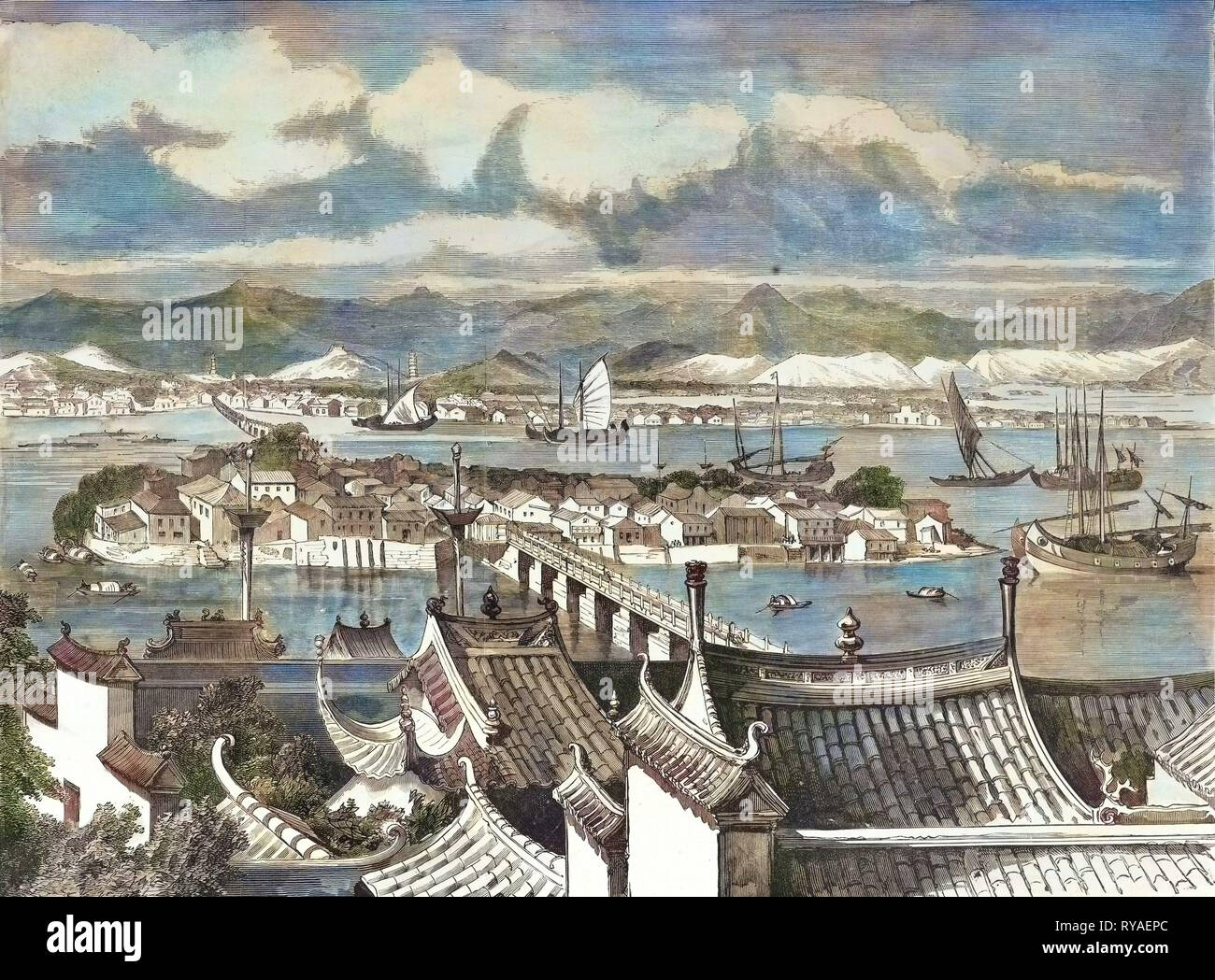 City of Foochow Engraving 1884 Stock Photo
