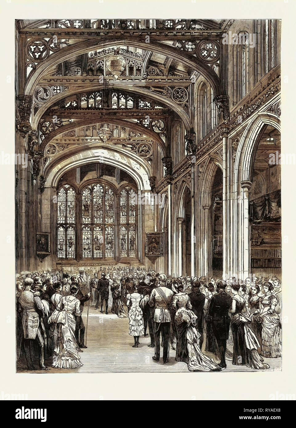 The Municipal Ball at the Guildhall, Reception of the Guests in the Library - Stock Image