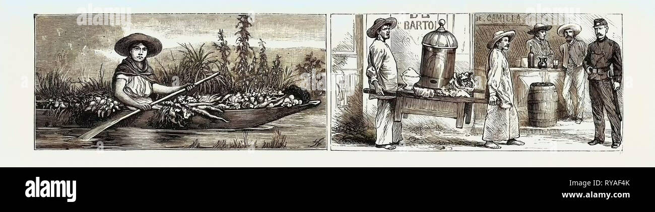 Mexico: Vegetable Merchant (Left), Tripe Merchants (Right - Stock Image