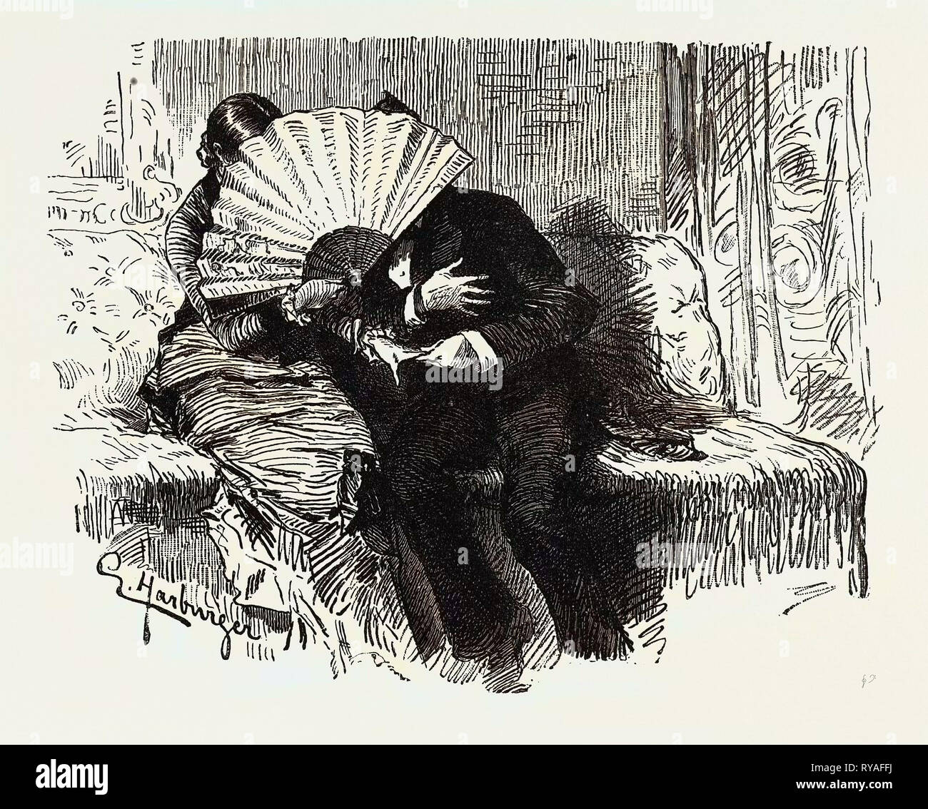 Art Caricature in Germany: The Careful Mamma, 'Now, Mr. Assessor, You May Confess to Me All that Your Heart Feels. Mamma Has No Objection to My Listening to You, She Has Even Lent Me Her Large Fan - Stock Image