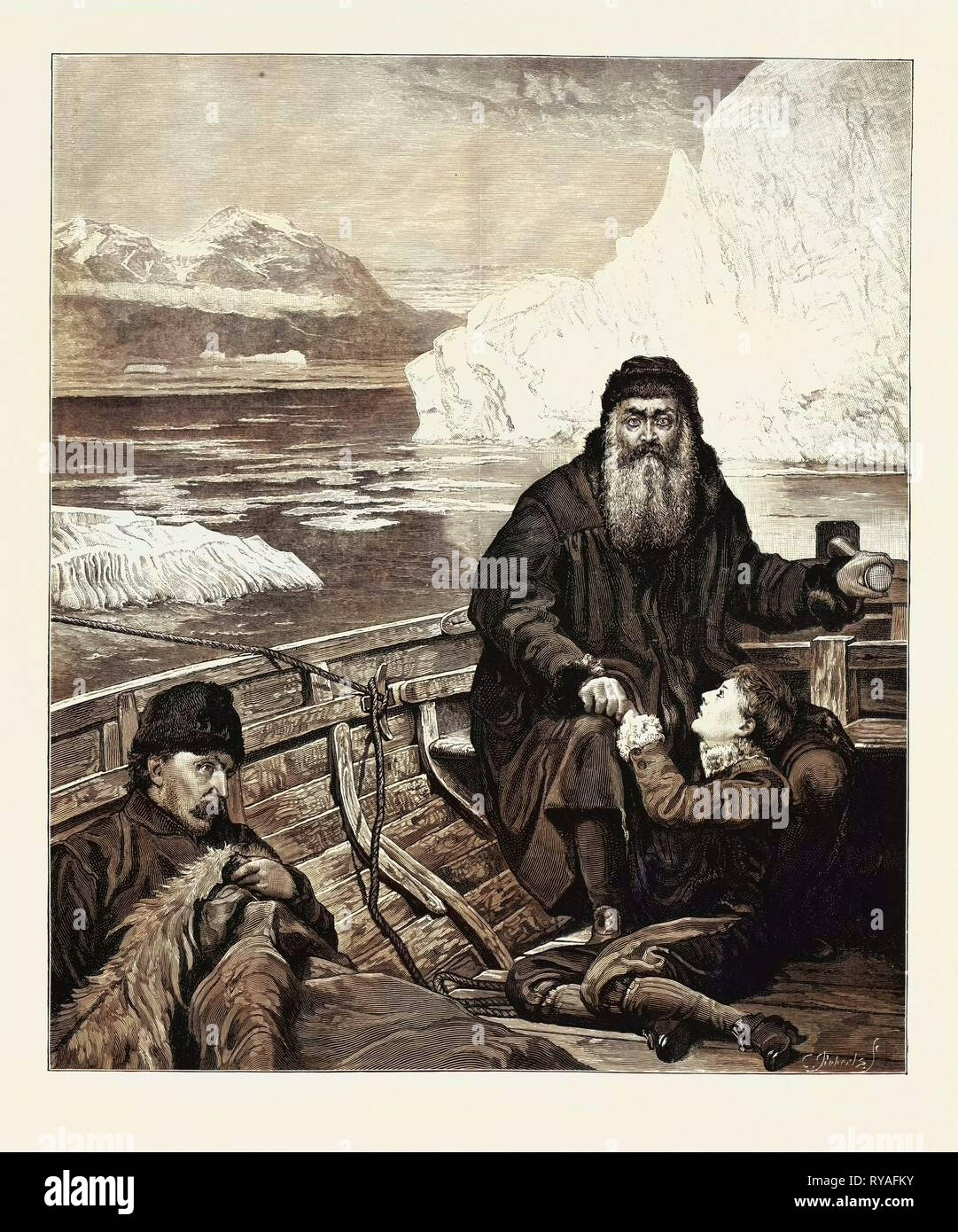 The Last Voyage of Henry Hudson from the Picture by John Collier, Henry Hudson, the Great Navigator, Made His Last Voyage to the Polar Seas in 1610. In the Summer of 1611 His Crew Mutinied and Set Him Adrift in an Open Boat with His Son, John Hudson, and Some of the Most Infirm of the Sailors. They Were Never Heard of More - Stock Image