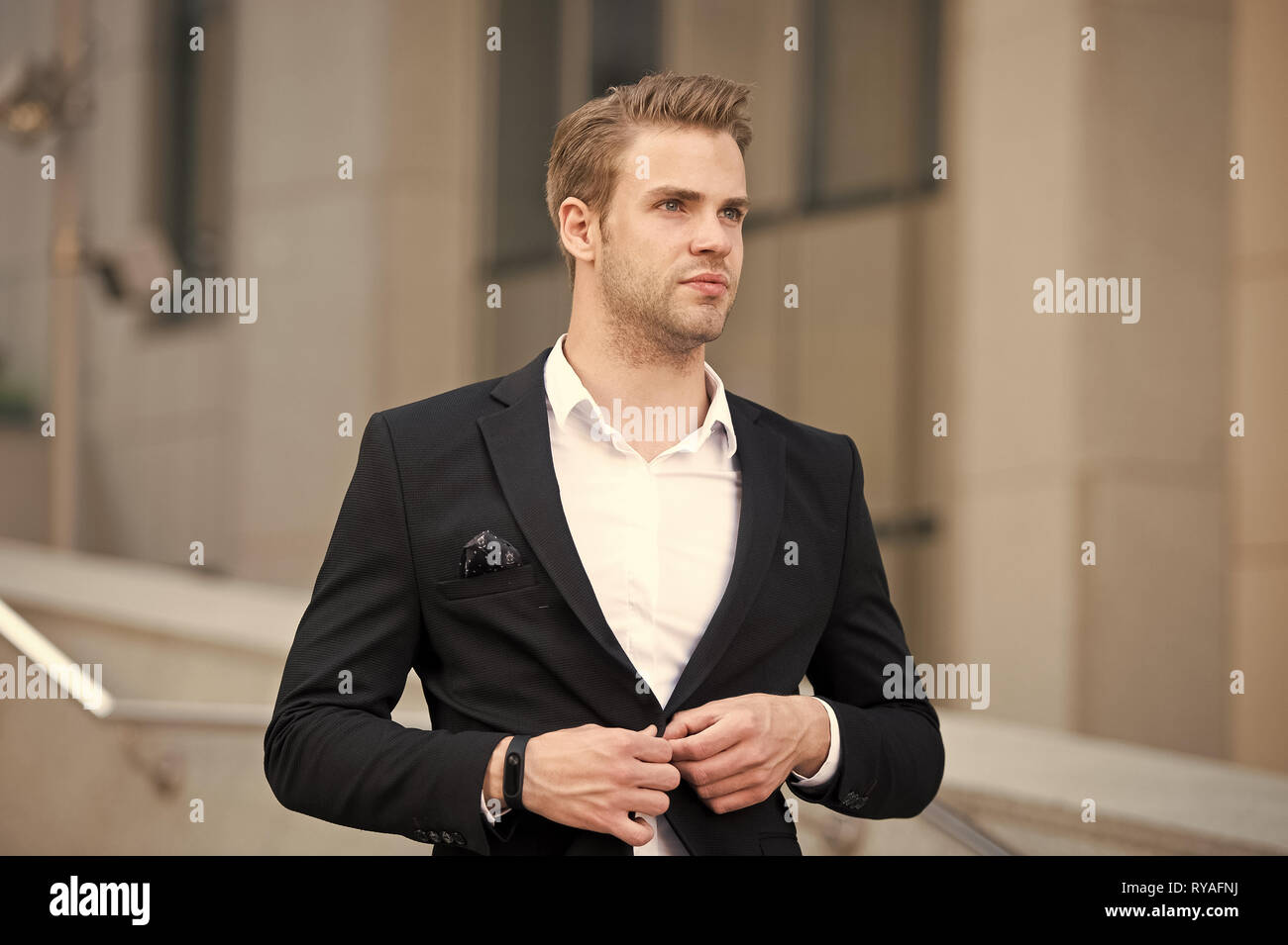 Uniform business environments decorum professionalism woven culture organization. Man formal suit businessman well groomed urban background. Professio - Stock Image