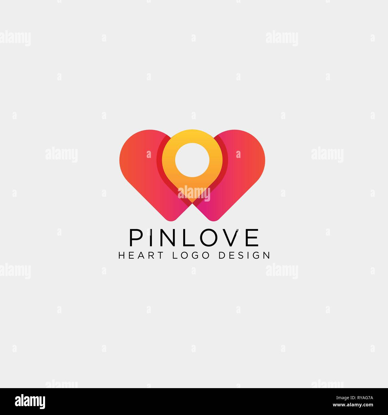 42da174296 love point location mark logo template vector illustration icon element  isolated - Stock Image