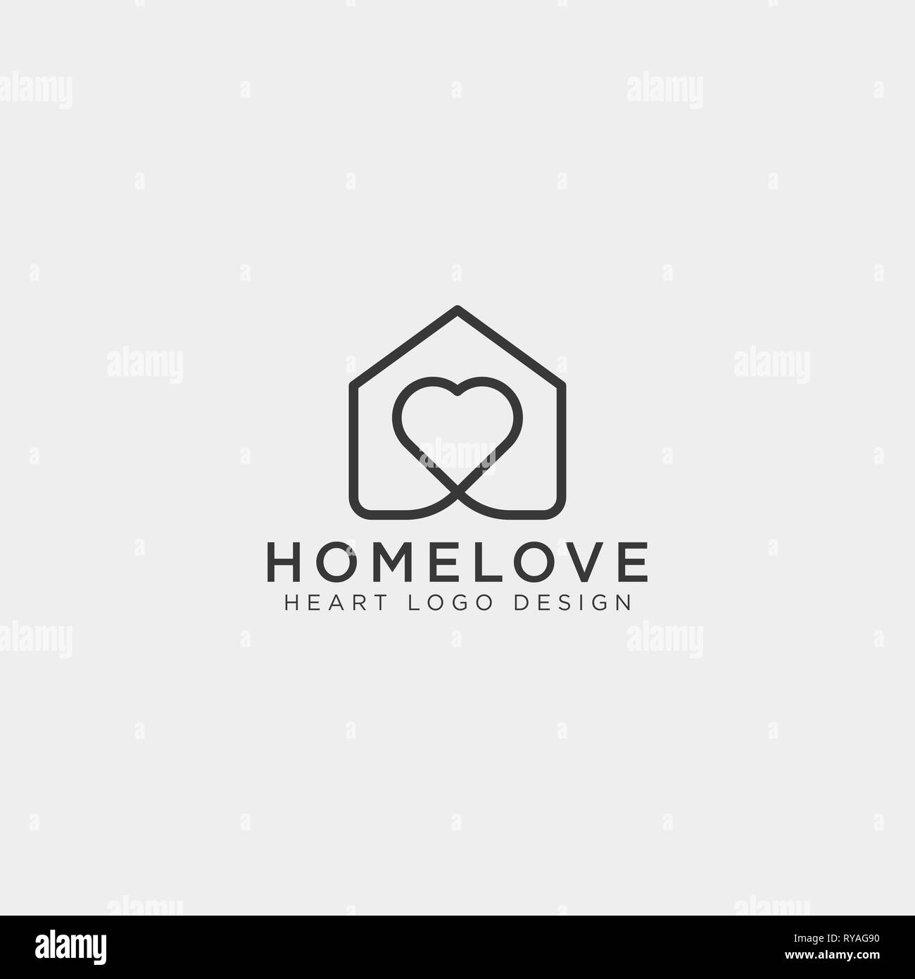 love home line logo template vector illustration icon element isolated - Stock Vector