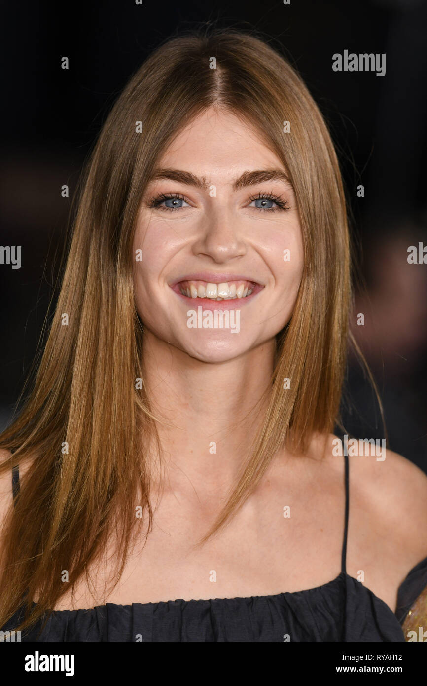 London, UK. 12th Mar, 2019. LONDON, UK. March 08, 2019: Eve Delf arriving for the premiere of 'The White Crow' at the Curzon Mayfair, London. Picture: Steve Vas/Featureflash Credit: Paul Smith/Alamy Live News - Stock Image