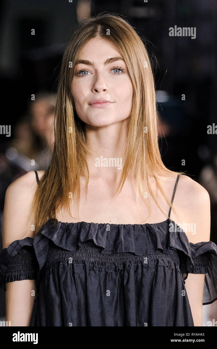 London, UK. 12th Mar 2019. Eve Delf poses on the black carpet at The UK Premiere of The White Crow on Tuesday 12 March 2019 at Curzon, Mayfair, London. Picture by Credit: Julie Edwards/Alamy Live News - Stock Image