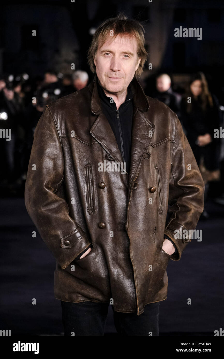 London, UK. 12th Mar 2019. Rhys Ifans poses on the black carpet at The UK Premiere of The White Crow on Tuesday 12 March 2019 at Curzon, Mayfair, London. Picture by Credit: Julie Edwards/Alamy Live News - Stock Image