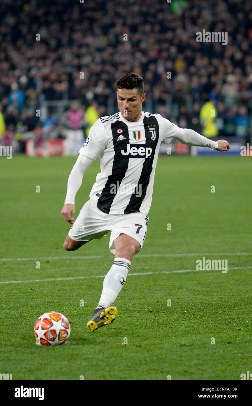 Allianz Stadium Turin Italy 12th Mar 2019 Uefa Champions League Football Round Of 16th 2nd Leg Juventus Versus Atletico Madrid Cristiano Ronaldo Of Juventus Scores For 3 0 For Juventus In The 86th
