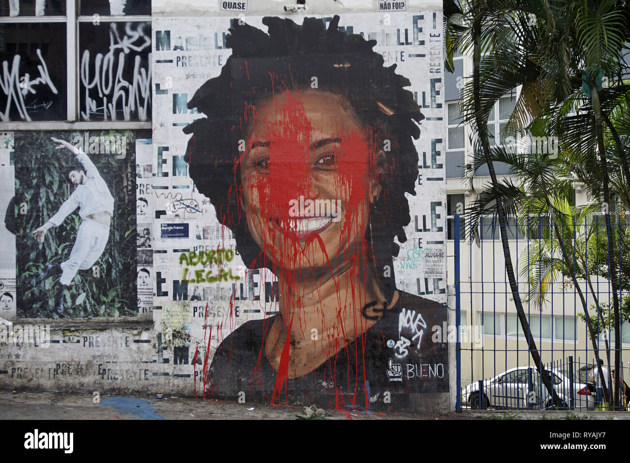 March 12, 2019 - SãO Paulo, São Paulo, Brazil - São Paulo (SP), 12/03/2019 - MARIELLE FRANCO - Two arrests, one year after the assassination of Marielle Franco in Brazil. According to the G1 news site citing judicial sources, the authorities arrested two police officers suspected of being involved in the death of the woman elected in March 2018. They are two members of the military police, one of whom is believed to be the author of the shots, and the other to be the driver of the vehicle on which they were driving, according to these sources. Marielle Franco, a city councilwoman born in f - Stock Image