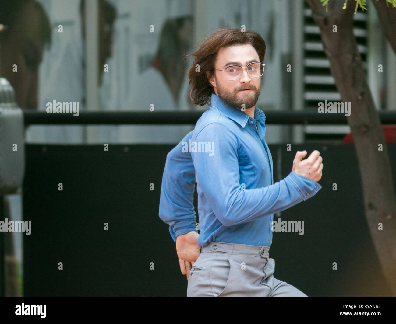 Adelaide, Australia. 13th Mar, 2019. British actor Daniel Radcliffe on the film set of 'Escape from Pretoria filmed in Adelaide. The film is based on a book by Tim Jenkin and is set during the Apartheid era in Capetown, South Africa about two white South Africans, Tim Jenkin and Stephen Lee, who were jailed in 1978 for producing and distributing anti-apartheid messages Credit: amer ghazzal/Alamy Live News - Stock Image