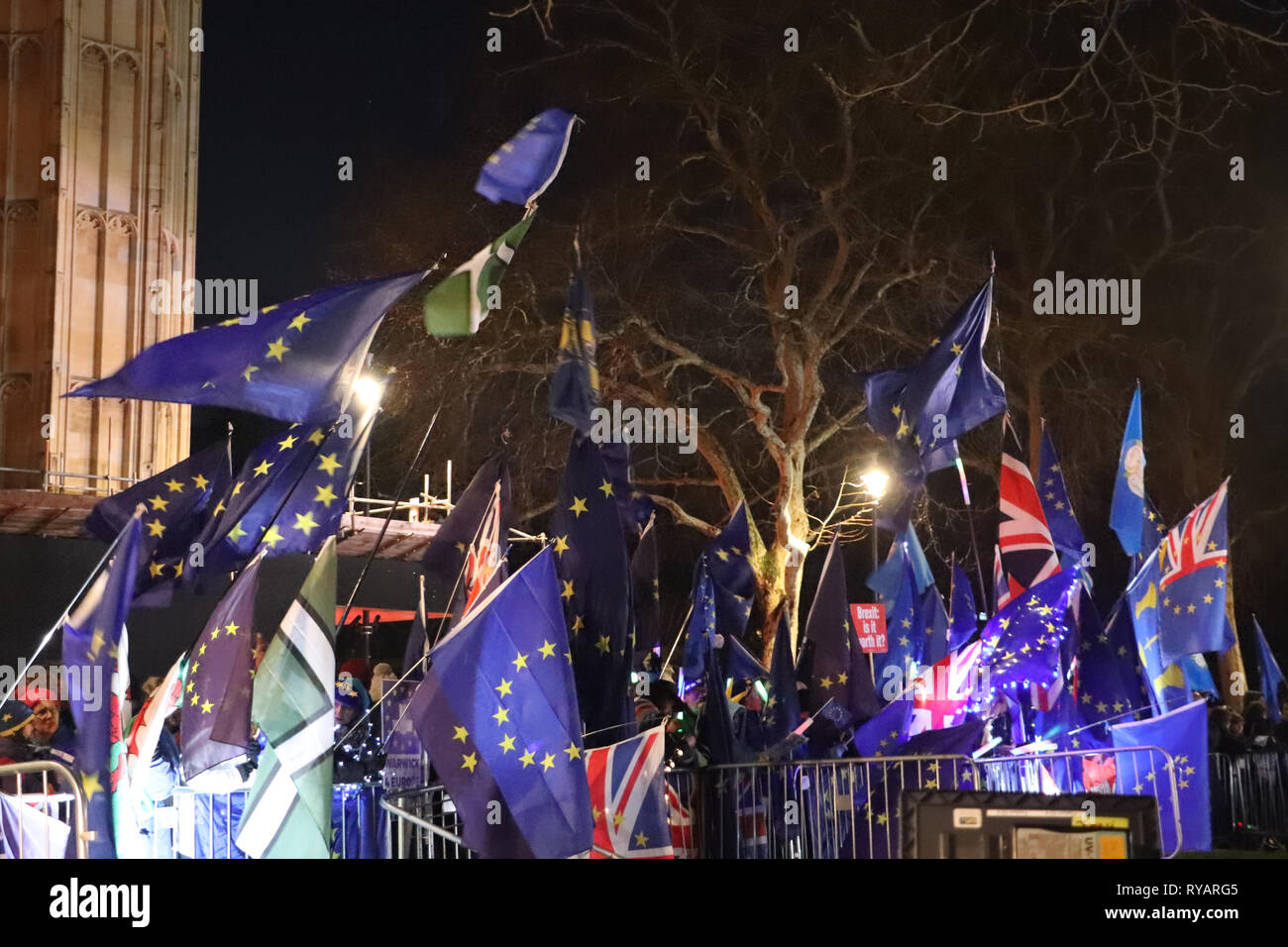Bevy of EU Flags at Parliament: Pro-remain demonstrators came out in force on the night of the Meaningful Vote on Brexit, with floods of EU flags, doted with regional flags as well, flying all day and night outside the House of Parliament. - Stock Image