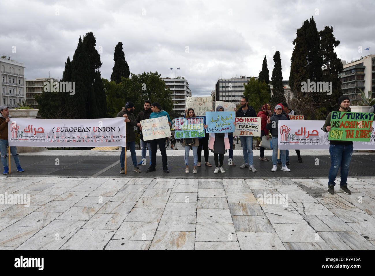 Athens, Greece. 13th Mar 2019. Refugees and supporters protest demanding from the EU and the Greek government funds for the refugee rental housing program in Athens, Greece. Credit: Nicolas Koutsokostas/Alamy Live News. Stock Photo