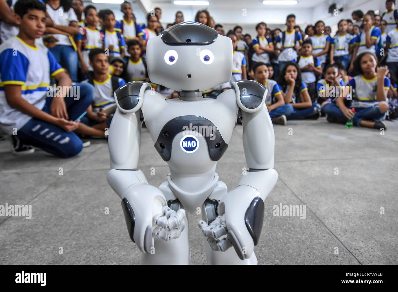 Recife, Brazil. 13th Mar, 2019. PE - Recife - 03/13/2019 - Robos Humanoides - Recife - The city of Recife, through the secretary of education, delivery of 10 new humanoid robberies (NAO) the Generation 6 version, first copy of Latin America, at the Municipal School Rodolfo Aureliano, in Varzea district, on Wednesday (13) Photo: Paulo Paiva / AGIF Credit: AGIF/Alamy Live News - Stock Image