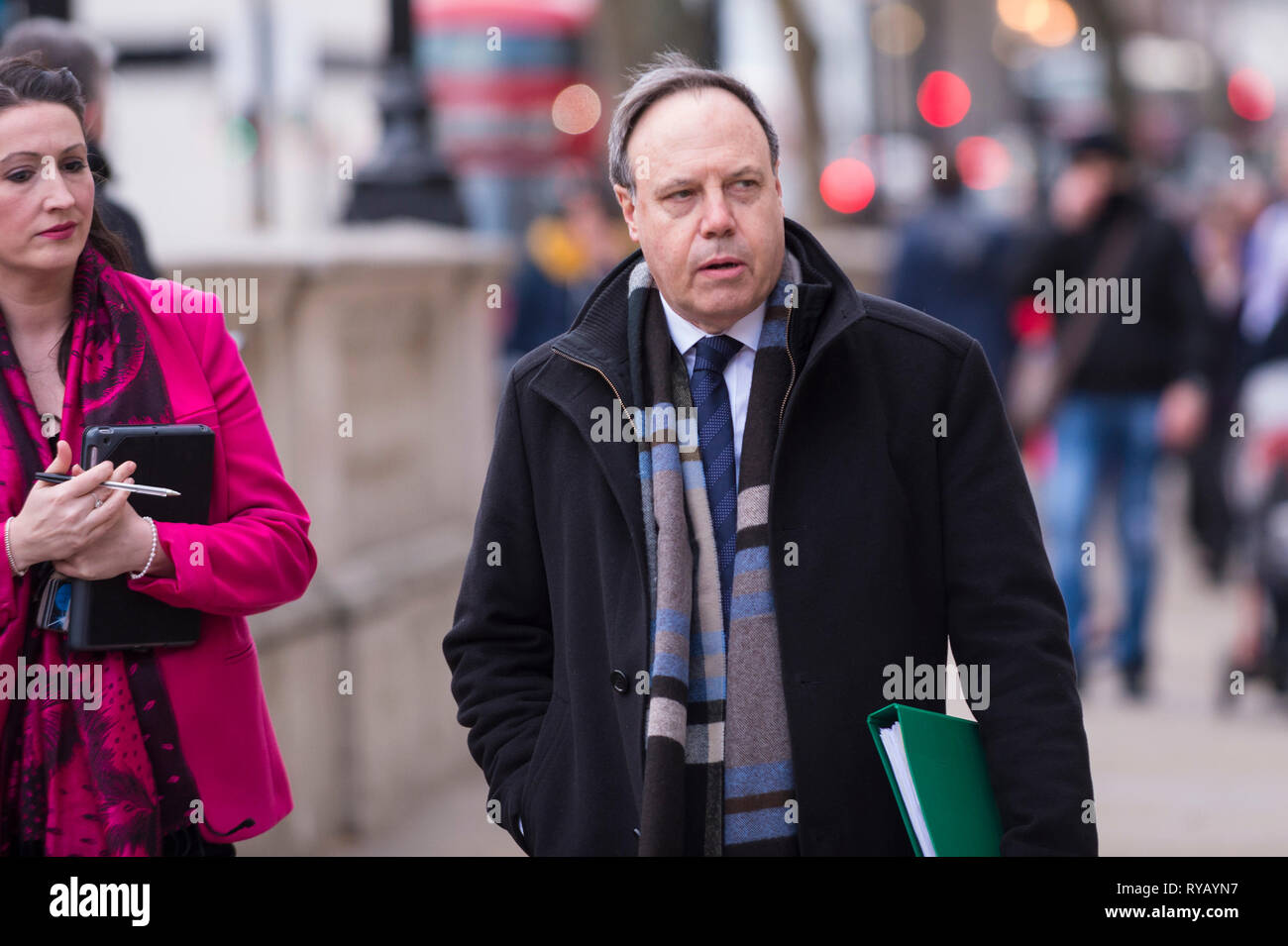 London, UK.  13 March 2019.  Nigel Dodds, MP for Belfast North, and deputy leader of the Democratic Unionist Party (DUP), arrives at the Cabinet Office in Whitehall for a meeting.  MPs are to vote in the House of Commons whether to remove no deal as a Brexit option.  Credit: Stephen Chung / Alamy Live News - Stock Image