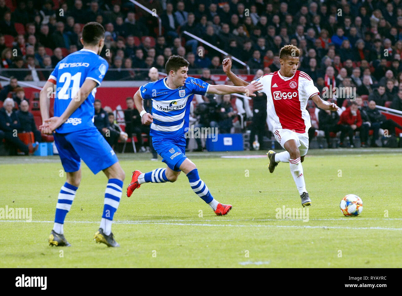 Amsterdam Ajax Pec Zwolle 13 03 2019 Football Dutch Eredivisie Season 2018 2019 Stadium De Arena Ajax Player David Neres R And Pec Zwolle Player Pelle Clement L During The Game Ajax Pec Stock Photo Alamy