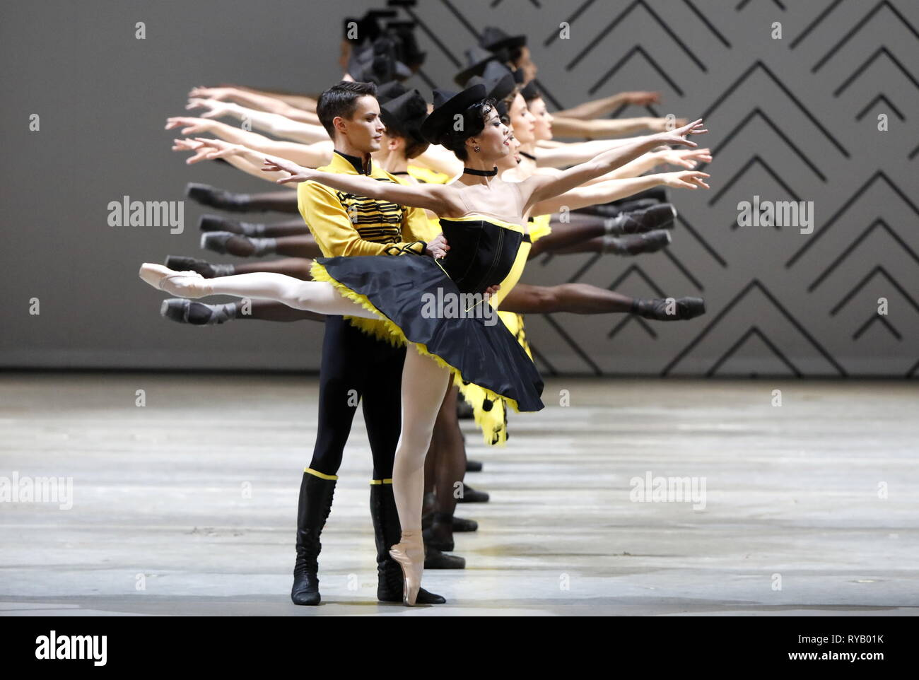 Moscow, Russia. 13th Mar, 2019. MOSCOW, RUSSIA - MARCH 13, 2019: Ballet dancers Miki Nishiguchi (R) as Paquita and Alexey Seliverstov as Lucien d'Hervilly in a scene from the Paquita ballet staged by Viacheslav Samodurov and performed by the Ural Opera Ballet Theatre (Yekaterinburg) as part of the 2019 Golden Mask Festival at the Stanislavski and Nemirovich-Danchenko Moscow Academic Music Theatre. Artyom Geodakyan/TASS Credit: ITAR-TASS News Agency/Alamy Live News - Stock Image