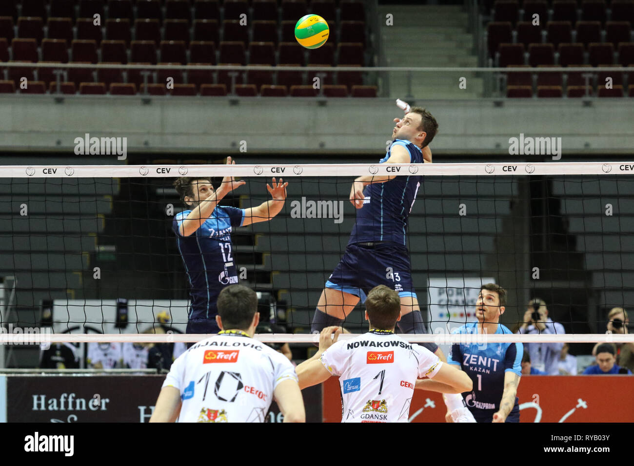Gdansk, Poland March, 13th. 2019 Trefl Gdansk (Poland) v Zenit Kazan (Russia) CEV Champions League Men - Quarter Finals volleyball game. ALEXEY SAMOYLENKO (13) of Zenit-Kazan is seen in action against NIKOLA MIJAILOVIC (10) of Trefl Gdansk © Vadim Pacajev / Alamy Live News Stock Photo