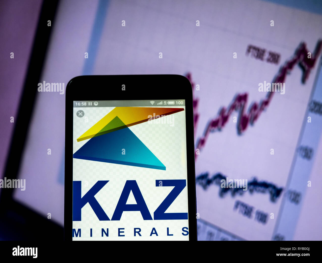 Ukraine. 13th Mar, 2019. KAZ Minerals plc company logo seen displayed on a smart phone. Credit: Igor Golovniov/SOPA Images/ZUMA Wire/Alamy Live News - Stock Image