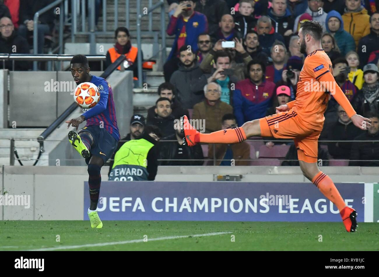 Dembele of FC Barcelona in action during the Champions League, football match between FC Barcelona vs Olympique Lyon on March 13, 2019 at Camp Nou stadium in Barcelona, Spain  Cordon Press - Stock Image
