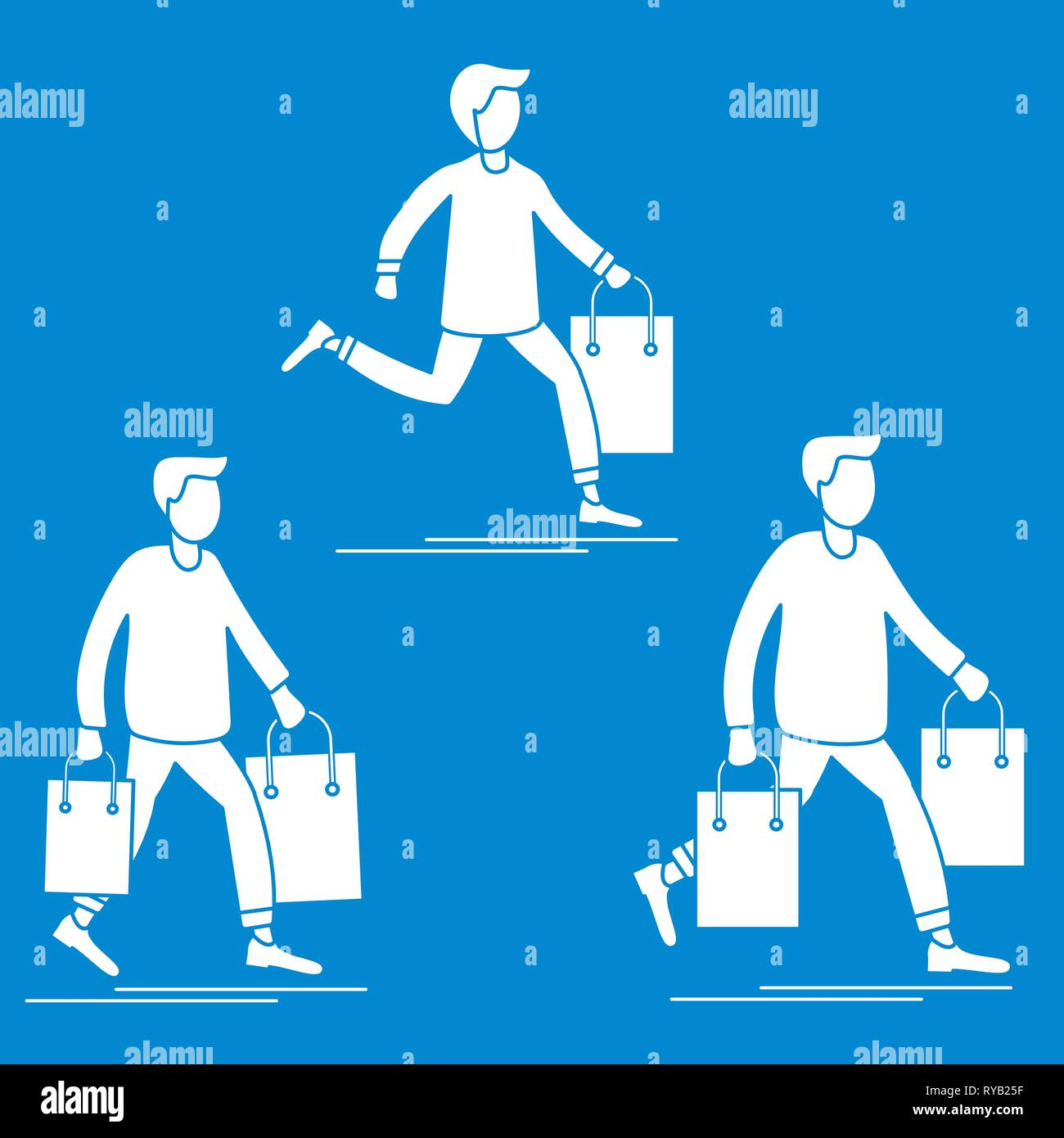 Men carry shopping bags from sale. Shopping men. Big sale. Black Friday. Men bought many gift bags. Special Offer. Design concept for banner, promotio - Stock Vector