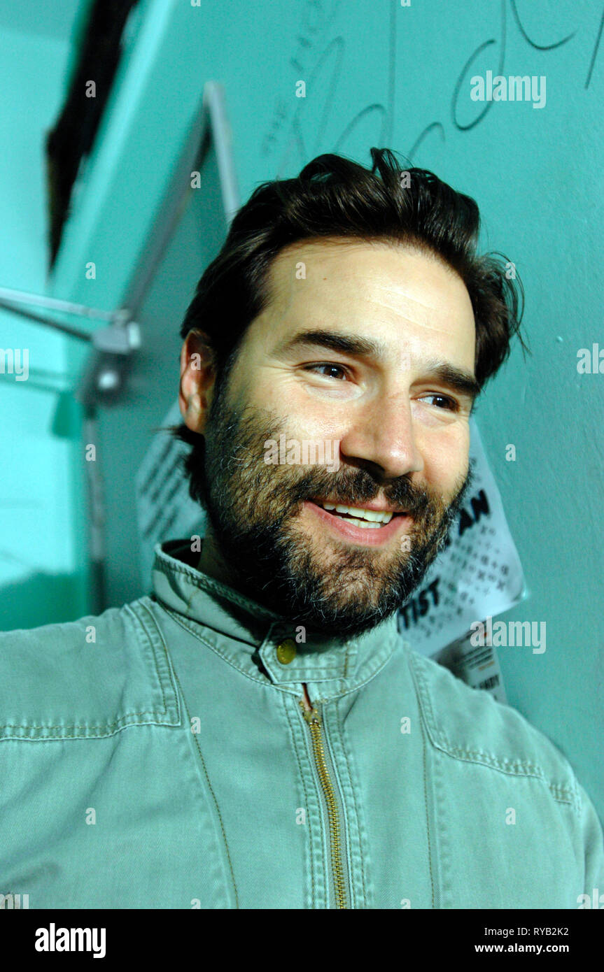 Adam Buxton of comedy duo Adam and Joe.  'The Adam and Joe Show' was a  British television comedy show, written and presented by Adam Buxton and Joe Cornish, which ran for four series on Channel 4 between 1996 and 2001. Pictured backstage at Bookslam event at 93 Feet East Bookslam event 08 July 2008 Stock Photo