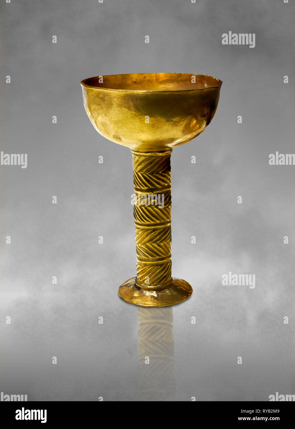 Bronze Age Hattian gold goblet from Grave K, possibly a Bronze Age Royal grave (2500 BC to 2250 BC) - Alacahoyuk - Museum of Anatolian Civilisations,  - Stock Image