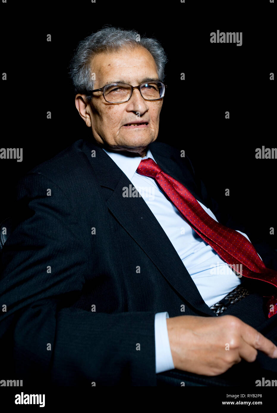 Amartya Sen pictured prior to his lecture 'The Idea of Justice '  at The London Literature Festival, The Southbank Centre.     AS is one of the worlds leading public intellectuals . In the lecture he argues for a new theory of justice requiring the agreement not just of community making laws , but of outsiders who might be affected. By moving away from an abstract ideal of the perfect society , Sen argues that our sense of justice can be rooted in the world we live in . The lecture based on new book out next week 'The Idea of Justice ' [Penguin] Stock Photo