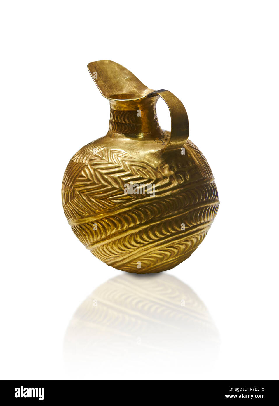 Bronze Age Hattian gold flask from Grave K, possibly a Bronze Age Royal grave (2500 BC to 2250 BC) - Alacahoyuk - Museum of Anatolian Civilisations, A - Stock Image