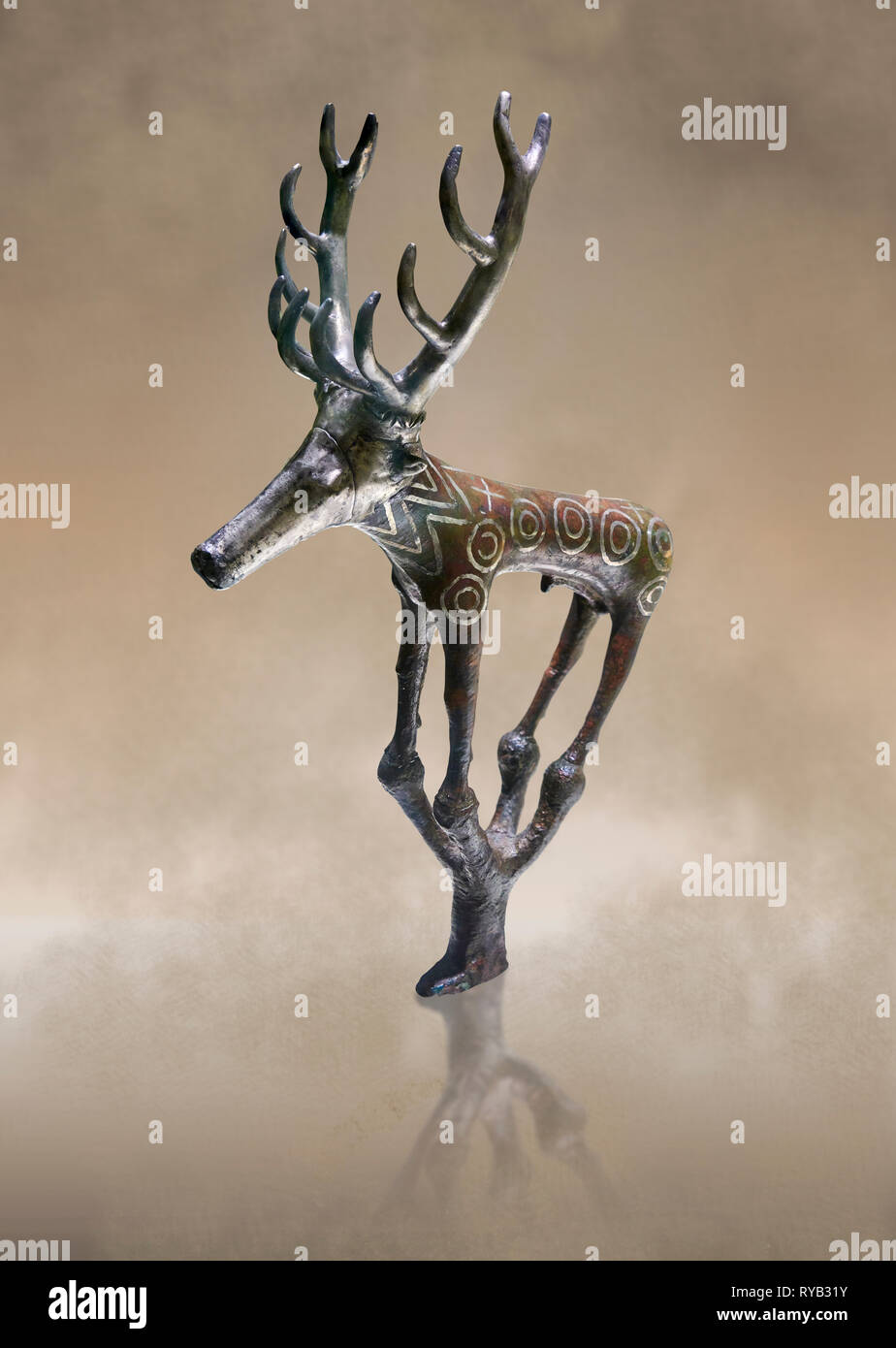 Bronze Age Hattian ceremonial deer statuette in bronze from a possible Bronze Age Royal grave (2500 BC to 2250 BC) - Alacahoyuk - Museum of Anatolian  - Stock Image