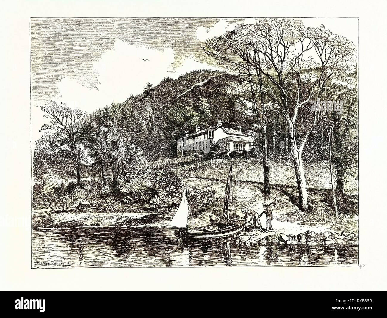 Mr. Ruskin's House, Brantwood. After a Drawing by L.J. Hilliard. John Ruskin (8 February 1819 20 January 1900) Was the Leading English Art Critic of the Victorian Era - Stock Image