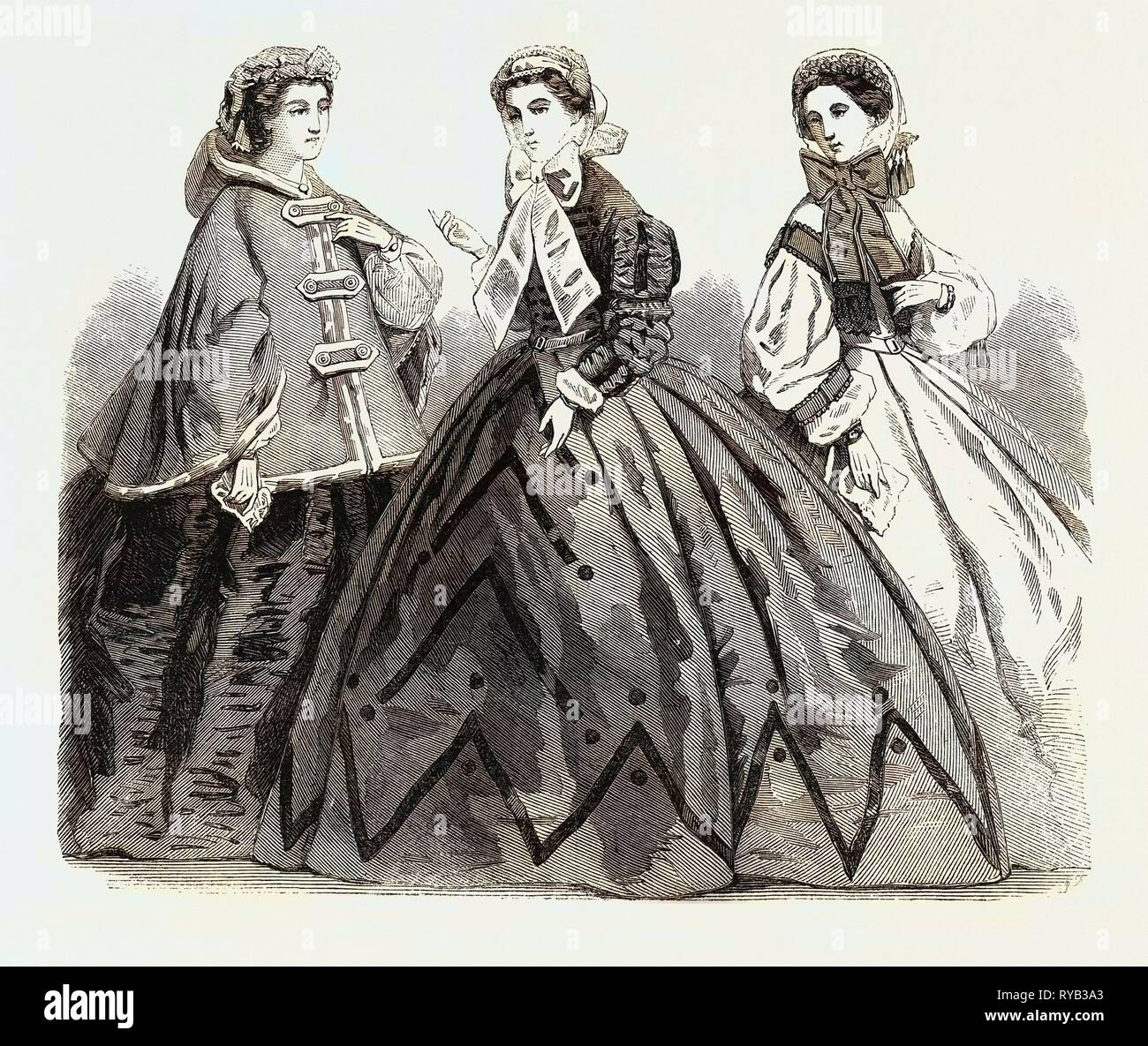 Paris Fashionsfashions for April 1861 - Stock Image