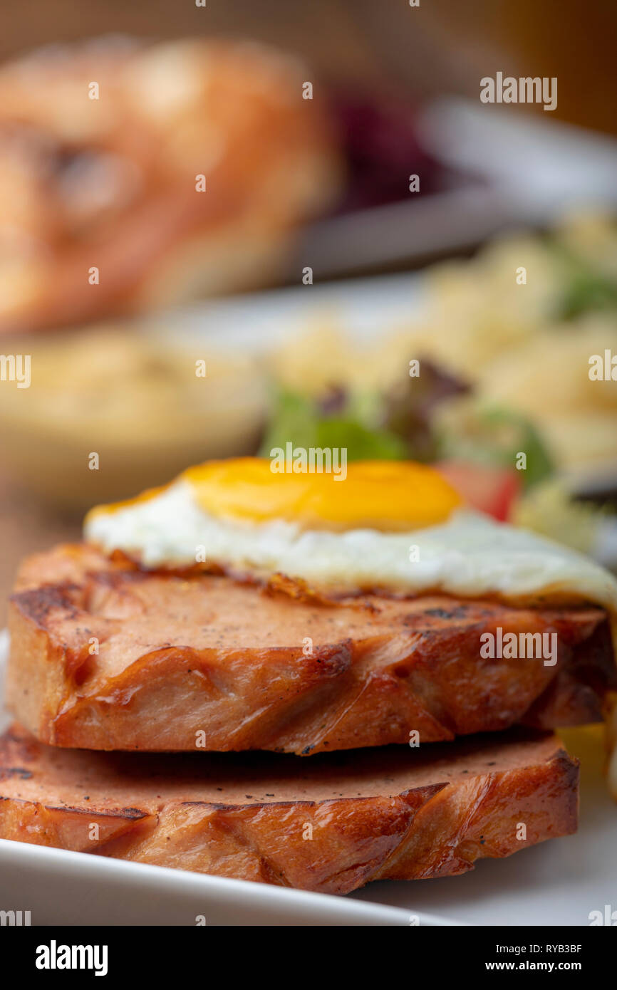 closeup of a bavarian leberkaese with egg Stock Photo