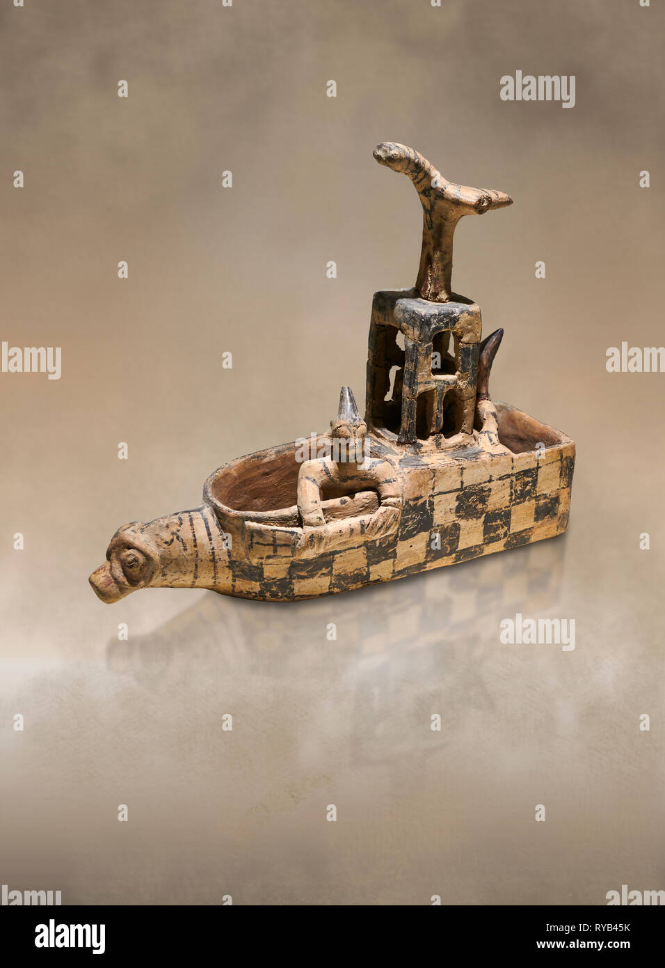 Assyrian Trader Colony Bronze Age terracotta sandal shaped ritual vessed. This cult pot is boat shaped with an animal head at the front. Inside the ve - Stock Image