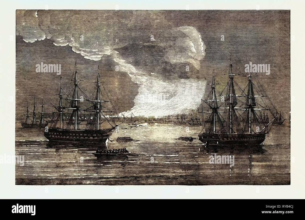 Conflagration at Varna 1854 - Stock Image
