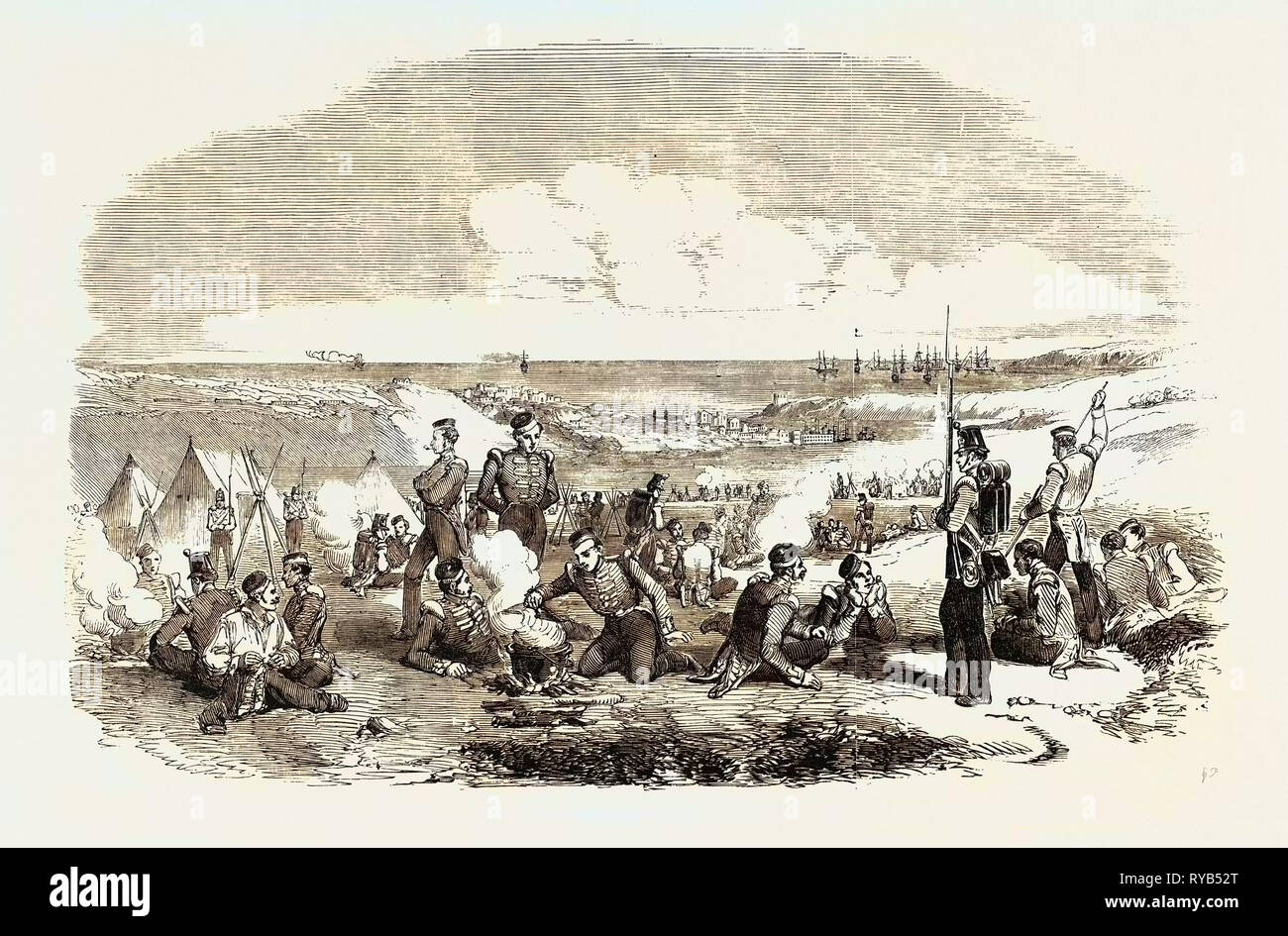 The Crimean War: Camp of the 21st Fusiliers on the Heights of Sebastopol 1854 - Stock Image