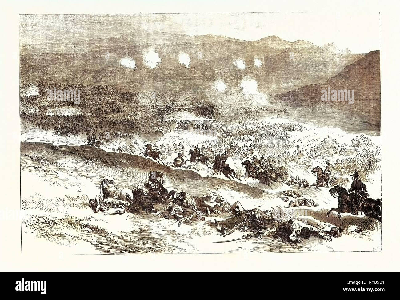 The Crimean War: The Action at Balaclava October 25. First Charge of Heavy Cavalry 1854 - Stock Image