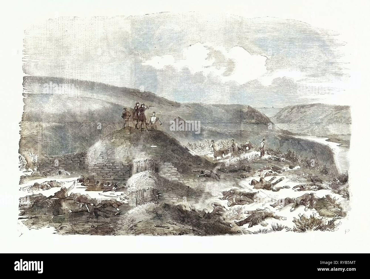 The Crimean War: Sandbag Battery Defended by the Guards on the Morning after the Battle of Inkerman 1854 - Stock Image