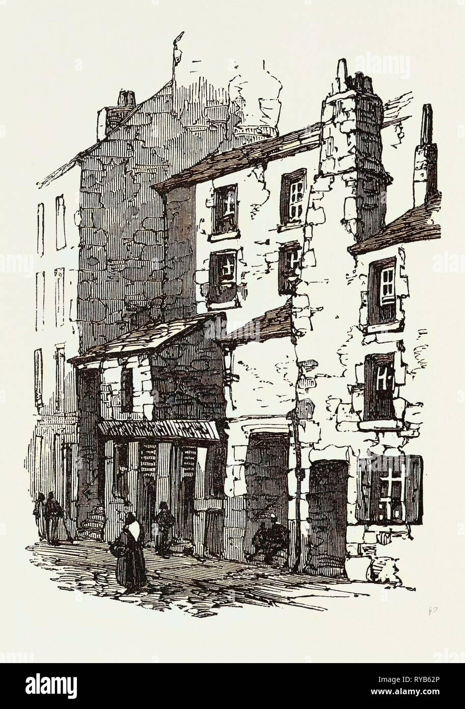 The British Association at Dundee: Houses in Overgate, UK, 1867 - Stock Image