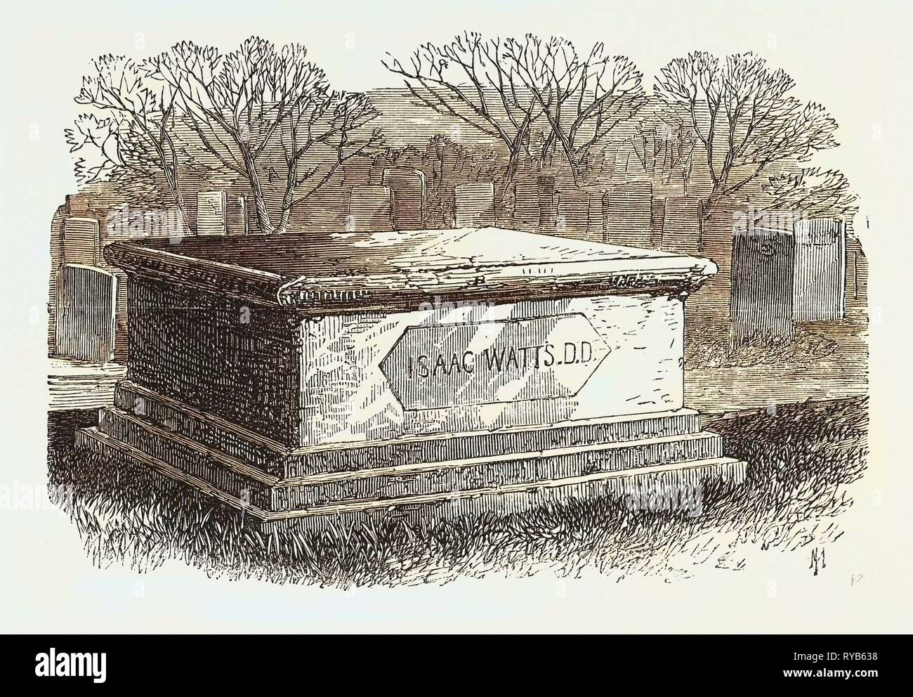 Old Tombs in Bunhill Fields Cemetery: Dr. Isaac Watts's Tomb, 1869 - Stock Image